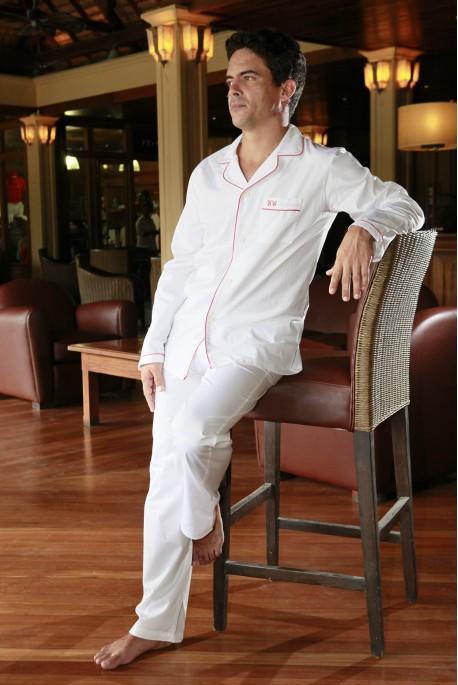 Pyjama long blanc Homme luxe Charles