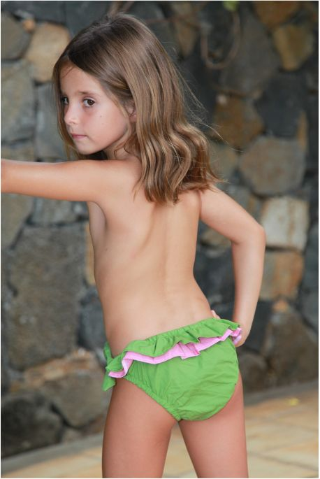 Maillot Culotte Fille Luciole Vert Grenouille