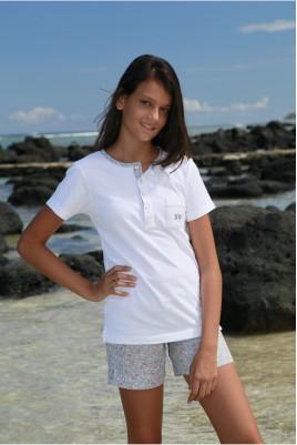 Pyjama Fille Vanille Imprimé Fleurs