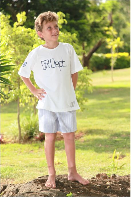 Pyjacourt Garçon Junior Larges Rayures Bleues