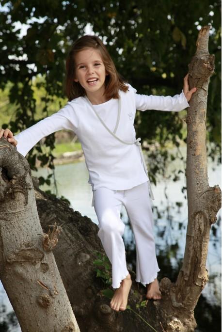 Pyjama long fille Sidonie blanc
