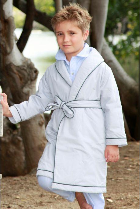 Robe de chambre etoile gris clair passepoil gris l 39 orangerie for Robe de chambre seculo xix