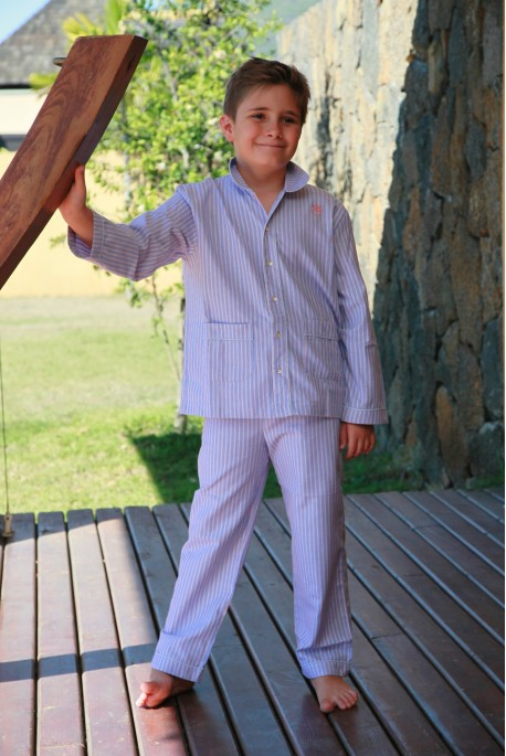 Pyjama Garçon rayé ciel orange