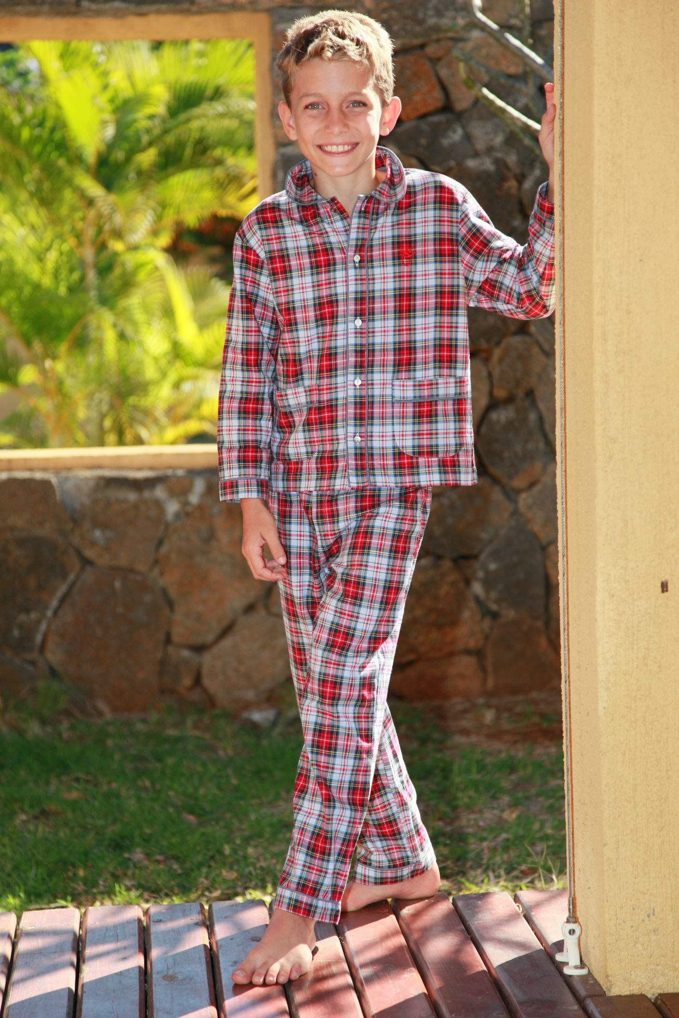 pyjama gar on ecossais louis l 39 orangerie. Black Bedroom Furniture Sets. Home Design Ideas