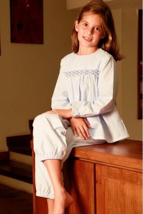 Pyjama Fille Blandine rayé ciel