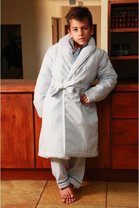 Meubles Chambre Bebe Paris :  > Boys' Dressing gown > Robe de chambre Garcon Etoile rayé ciel