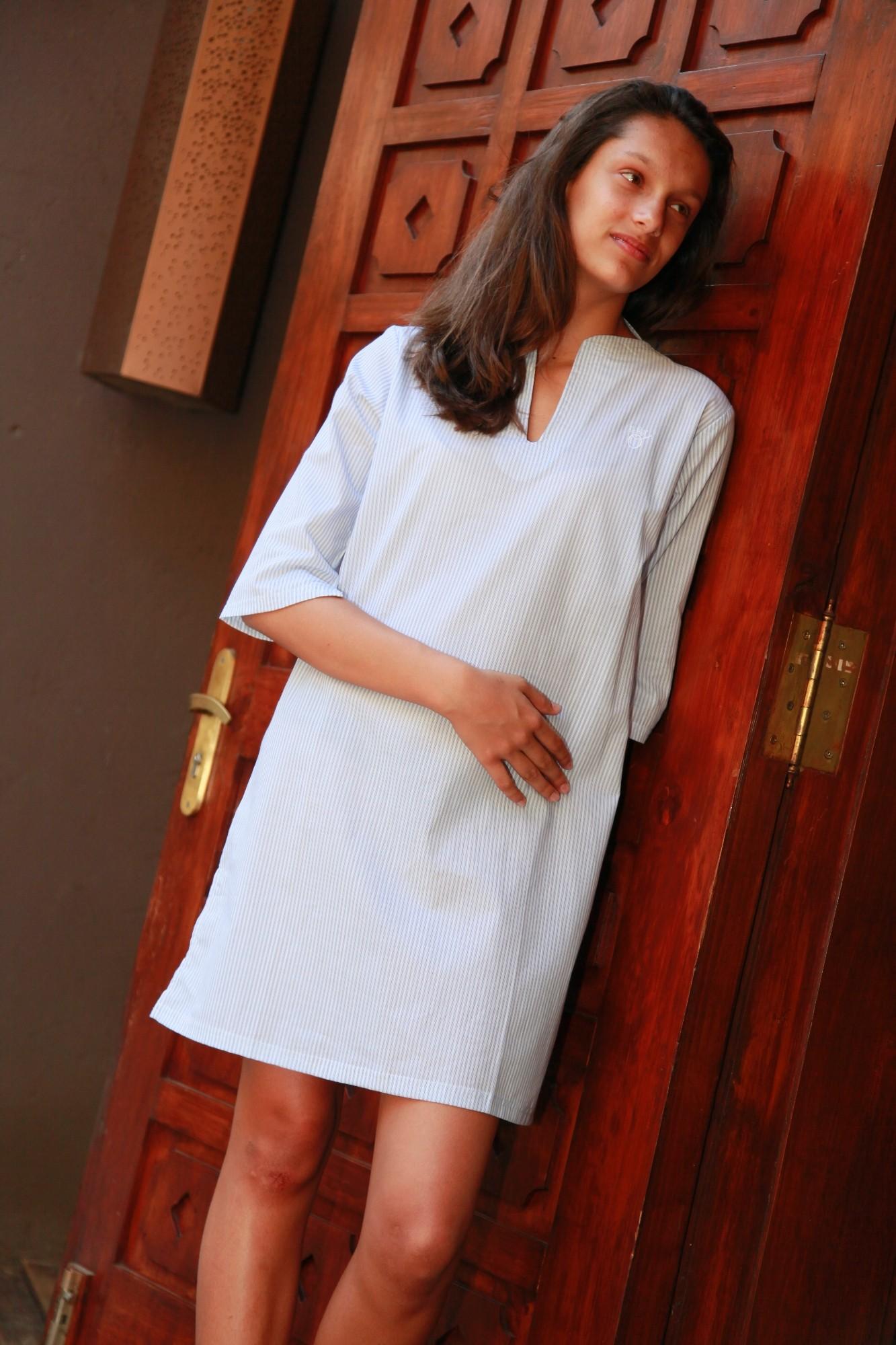 chemise de nuit femme nora rayure bleuciel l 39 orangerie. Black Bedroom Furniture Sets. Home Design Ideas