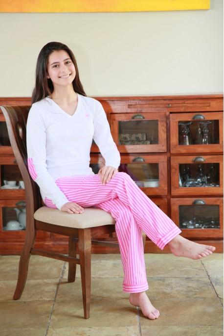 Pyjama Fille Victoire rayure rose
