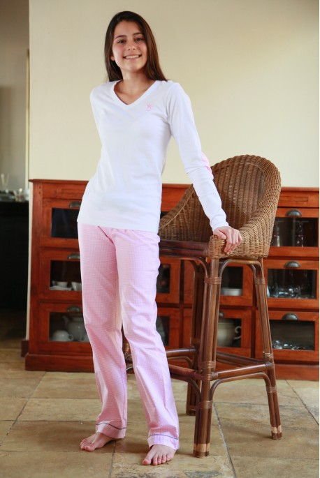 Pyjama Fille Victoire vichy rose