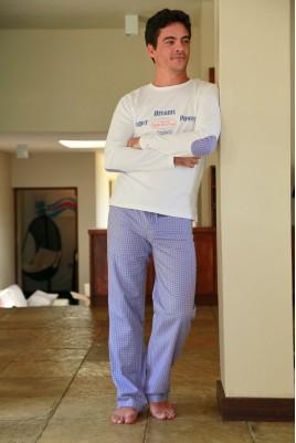 Pyjama homme Gonzague Carreau Ciel orange