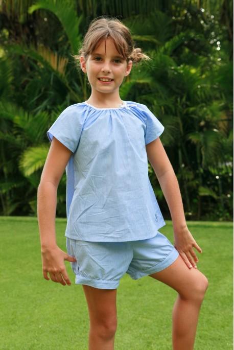 Pyjama Fille Honorine rayures ciel blanc