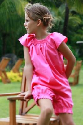 Pyjashort Fille Leopoldine fuchsia