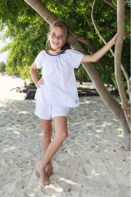 Pyjama court Fille Imprimé Bleu Honorine
