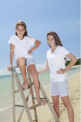 Hemelsblauw gedrukt korte pyjama voor meisjes