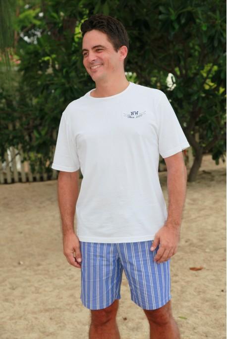 Pyjama court à rayures bleues pour Homme