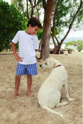 Pyjama court à rayures bleues pour garçon Junior