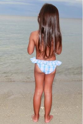 Maillot de bain pour filles Luciole vichy ciel 4 ans