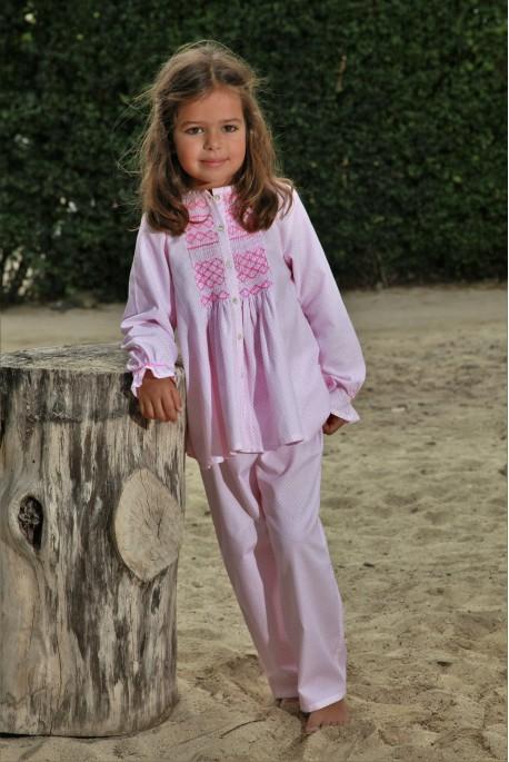 Pyjama long imprimé rose Fille Colombine