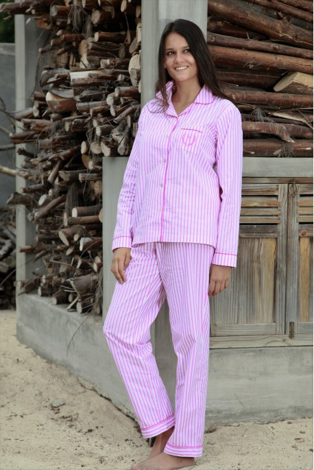Pyjama coton Rayure Fuchsia Femme Gloria