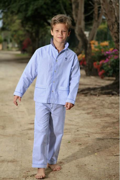 Pyjama Long Rayure Ciel Garçon Roméo