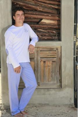 Pyjama Long Twill Bleu Ciel Homme Gonzague Sr