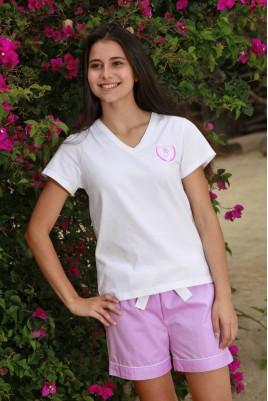 Pyjama Court pinpoint rose Femme Venance II