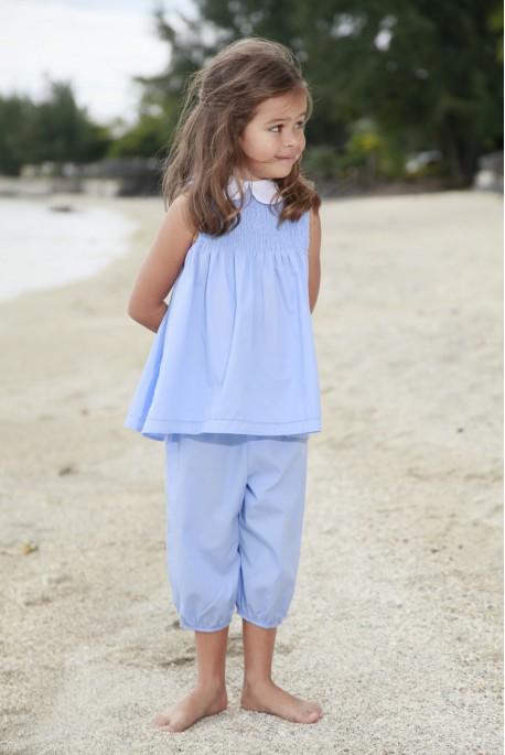 Pyjama coton Fille uni ciel Albertine