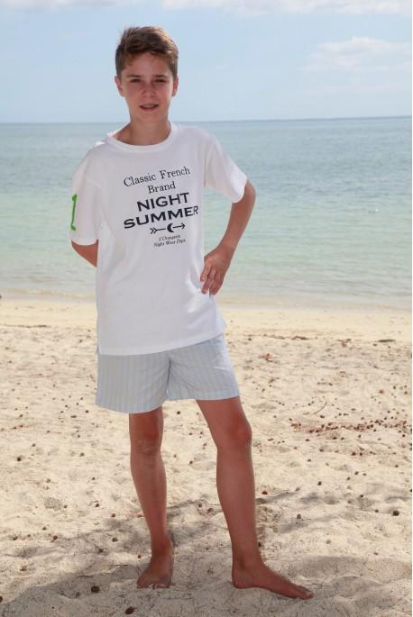Pyjama court pour garçon à rayures ciel/vert pomme