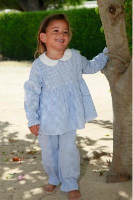 Pyjama Long pour Fille Ombeline Vichy Ciel