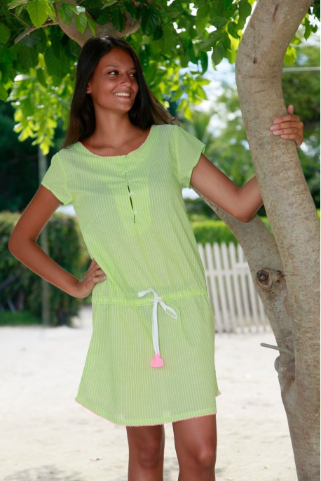 Chemise de Nuit Femme Suzanne Voile Fine rayure verte
