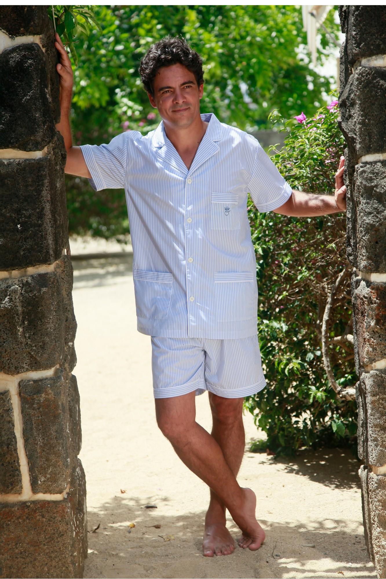 pyjama court pour homme jules rayure ciel l 39 orangerie. Black Bedroom Furniture Sets. Home Design Ideas
