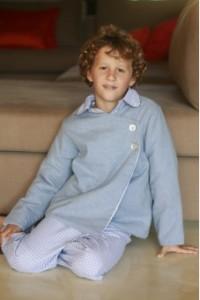 veste de chambre bouille chine bleu