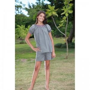 pyjama fille short gris coton