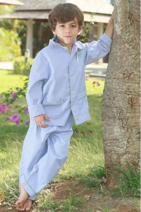 pyjama gar on rom o ray bleu broderie dos l 39 orangerie. Black Bedroom Furniture Sets. Home Design Ideas