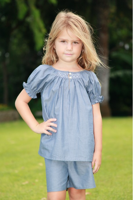 Pyjashort Fille Blanche McheBallon Chambray