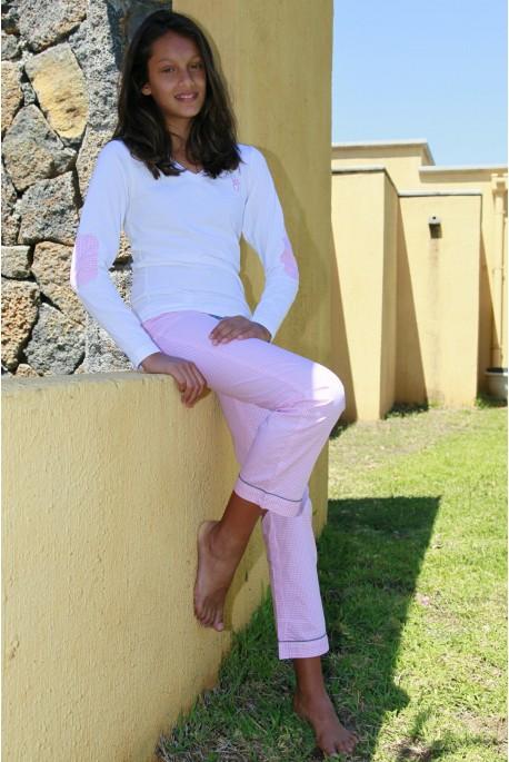 Pyjama Long Fille Victoire rose