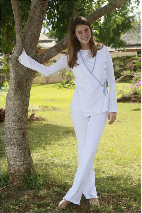 Pyjama Femme Astrid blanc / Biais ciel