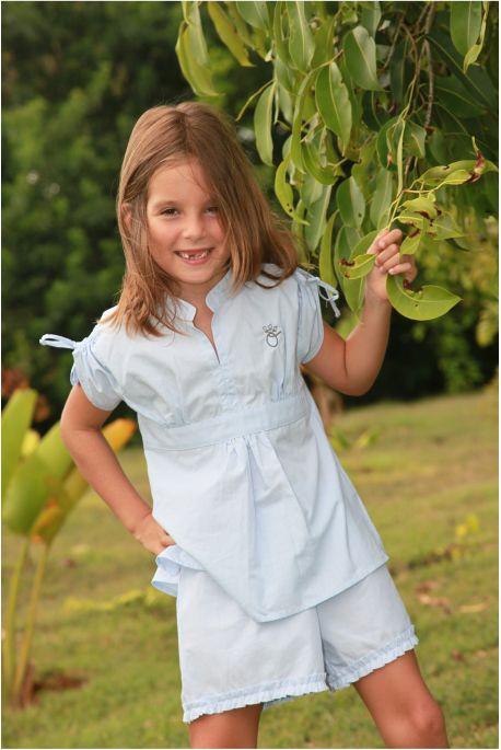 Pyjashort Fille Petite Jeanne Ciel