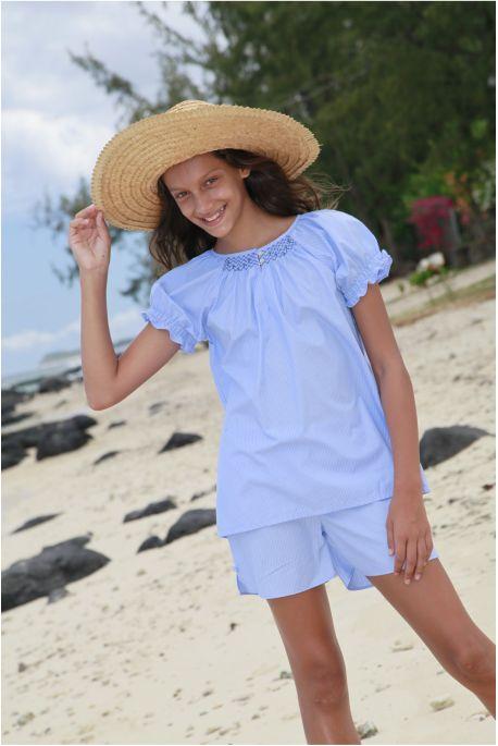Pyjama Court Fille Blanche coloris Ciel