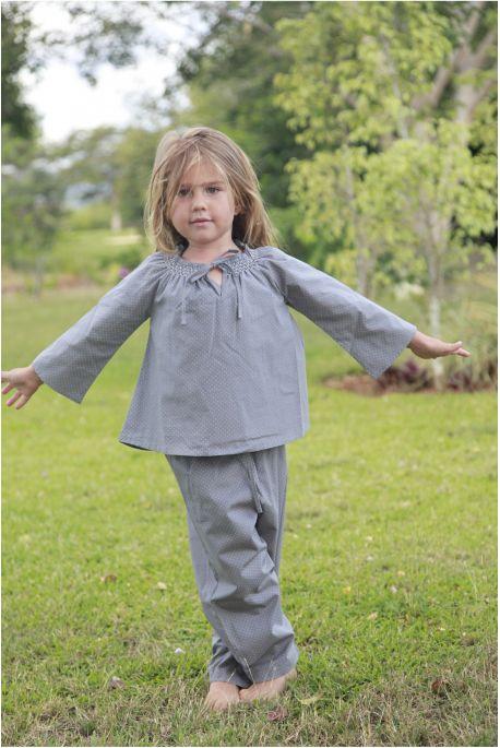 Pyjama Fille Rosalie Imprimé Pois Gris