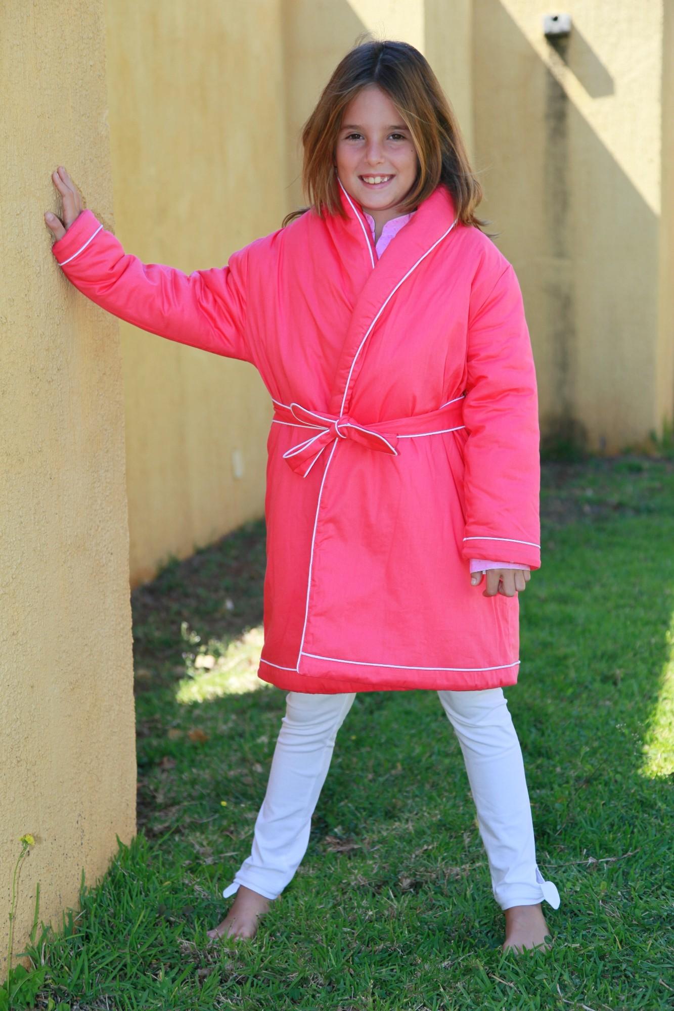 Robe de chambre fille fushia etoile l 39 orangerie - Robe de chambre pour petite fille ...