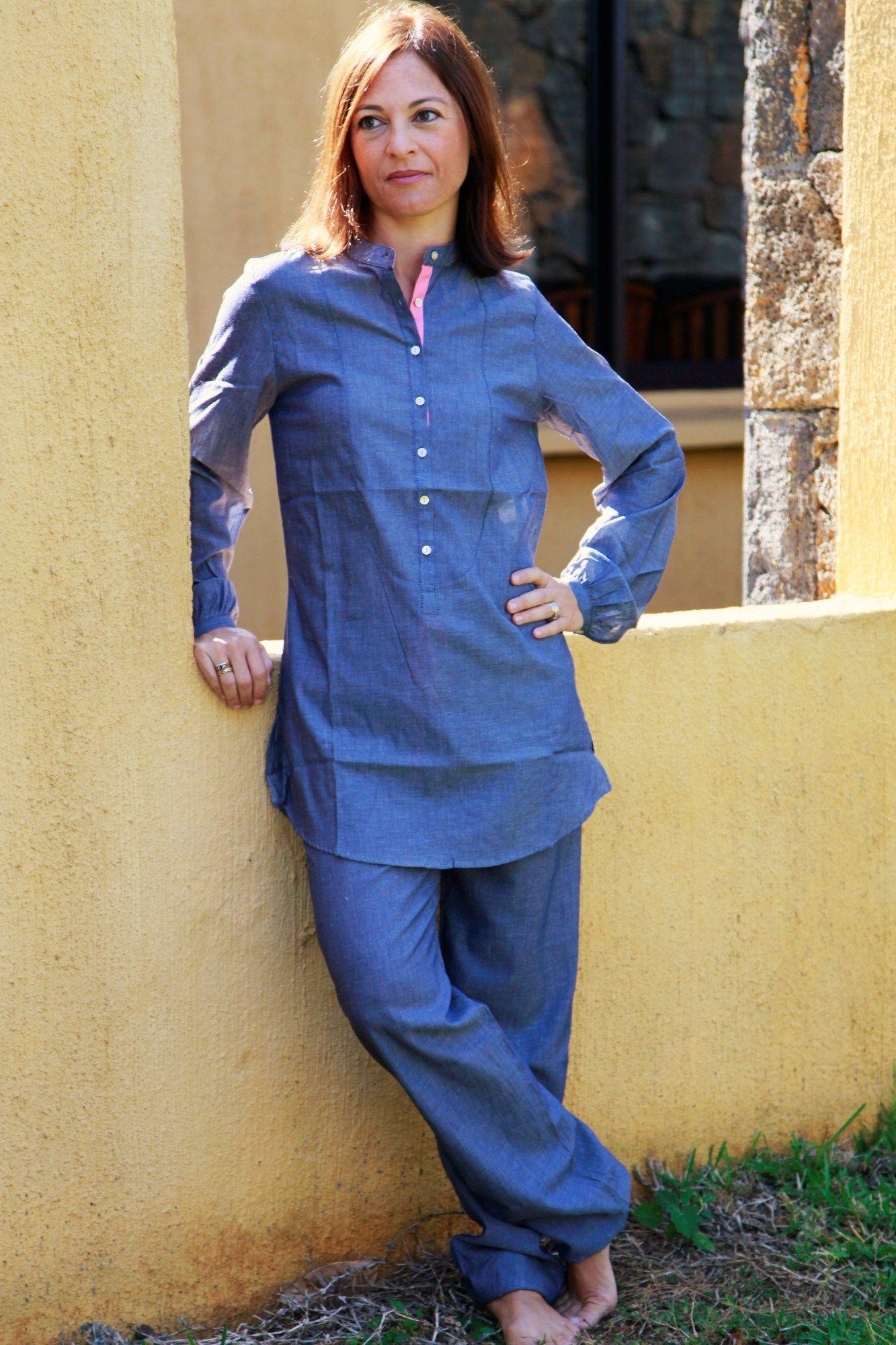 pyjama femme bleu pao l 39 orangerie. Black Bedroom Furniture Sets. Home Design Ideas