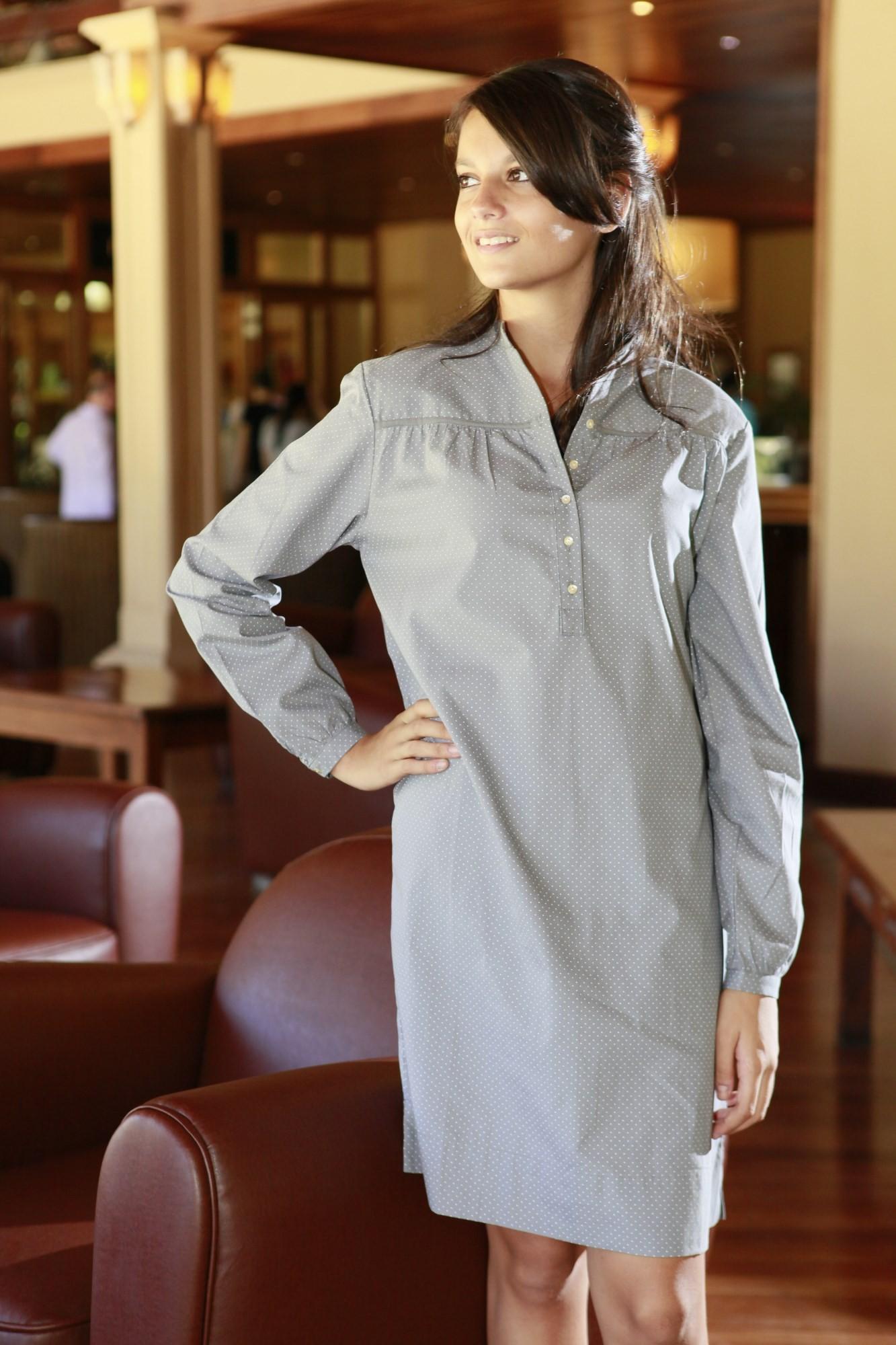 chemise de nuit femme lila gris imprim pois l 39 orangerie. Black Bedroom Furniture Sets. Home Design Ideas