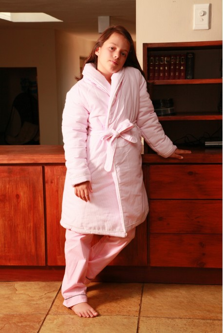 Robe de chambre Etoile rayé rose