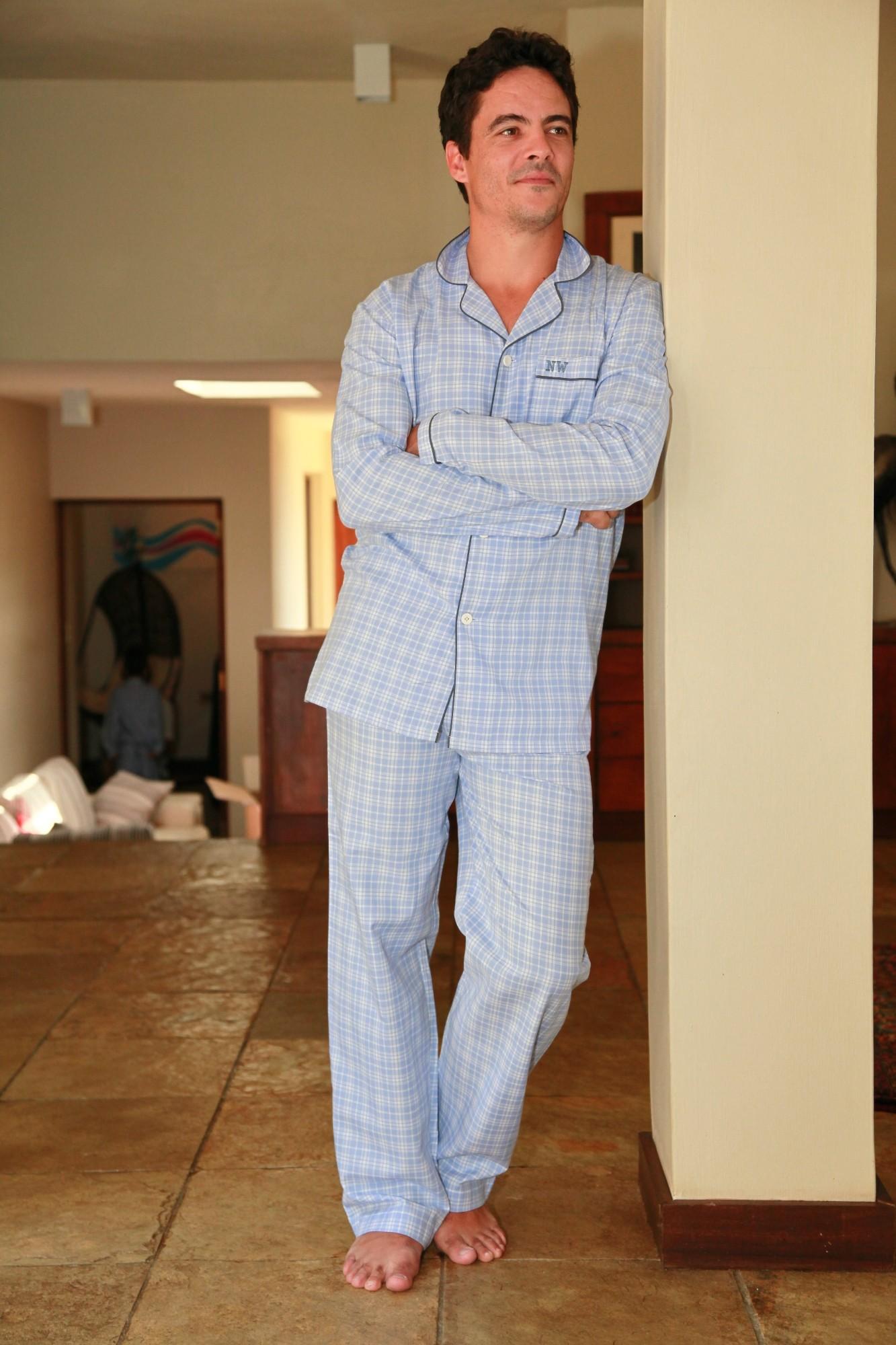 Pyjama homme charles carreaux ciel l 39 orangerie for Pyjama homme carreaux