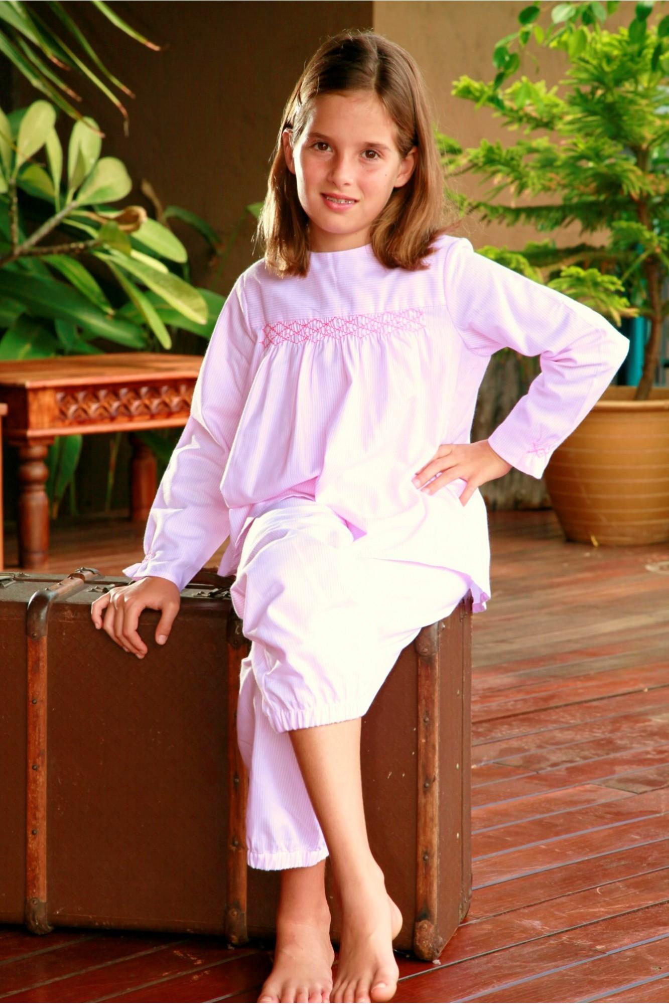 pyjama long fille rayure rose blandine l 39 orangerie. Black Bedroom Furniture Sets. Home Design Ideas