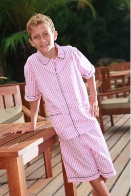 Pyjama Garçon Ulrich rayé fushia blanc
