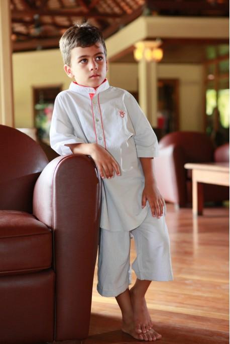 Pyjama Garçon Clotaire micro vichy beige