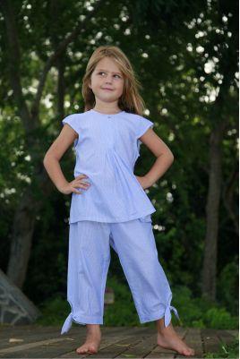 Pyjama Fille Béatrice Chambray Rayé Bleu