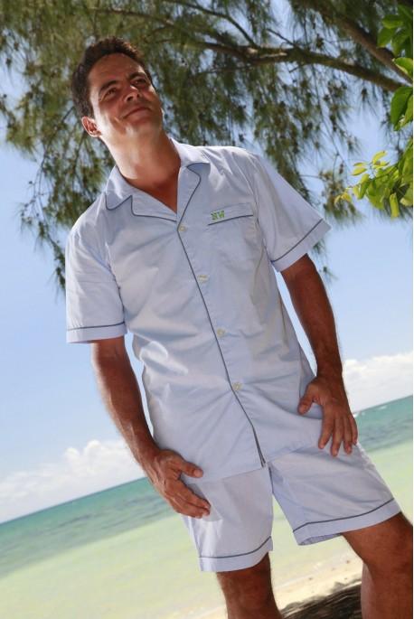 Pyjama court Homme chambray ciel Julien sr